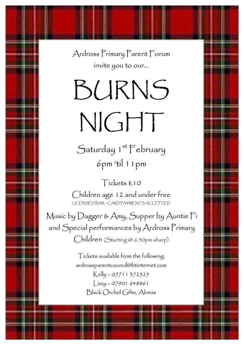 Ardross Burns Night 2020 Poster